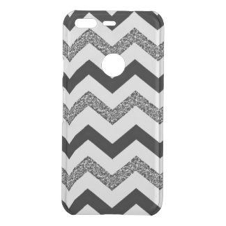 White Glitter Chevron Google Pixel Clearly™ Case