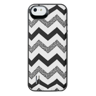 White Glitter Chevron iPhone SE/5/5s Battery Case