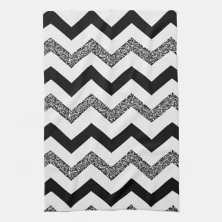 "White Glitter Chevron Kitchen Towel 16"" x 24"""