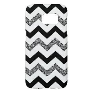 White Glitter Chevron Samsung Galaxy S7 Phone Case