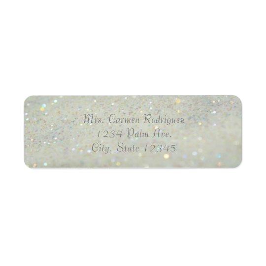 White Glitter Glam Bokeh Sparkle Address Labels