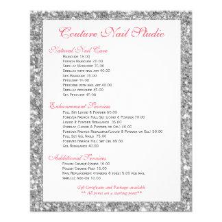 White Glitter Print Nails Menu List 11.5 Cm X 14 Cm Flyer