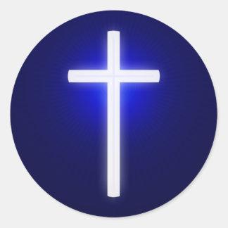 White Glow Religious Cross   Christian Navy Blue Classic Round Sticker