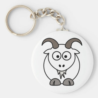 White Goat selection Basic Round Button Key Ring