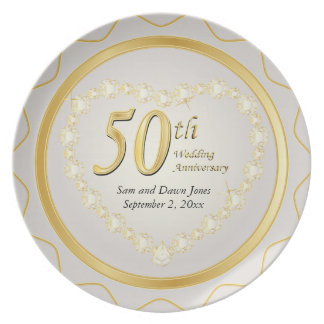 White & Gold 50th Golden Wedding Anniversary Plate