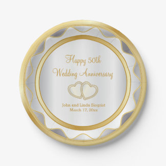 White & Gold 50th Wedding Anniversary Paper Plate
