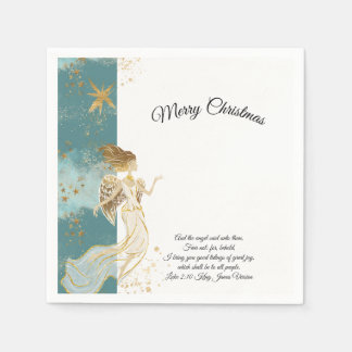 White Gold and Blue Angel Christmas Paper Napkins