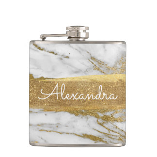 White Gold and Marble with Gold Foil and Glitter Hip Flask