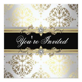 """White Gold Black Damask Party Invitations 5.25"""" Square Invitation Card"""