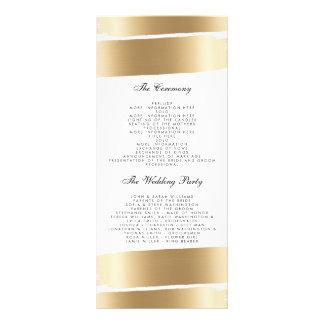 White & Gold Brush Stroke Wedding Program Rack Card