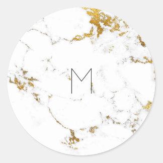 White Gold Carrara Marble Minimal Monogram Classic Round Sticker