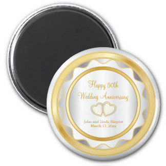 White & Gold Chevron 50th Wedding Anniversary Magnet