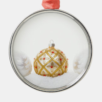 White Gold Christmas Bauble Red Flower in Snow Metal Ornament