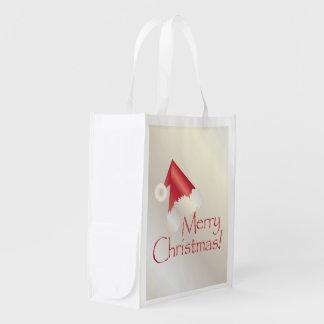 White gold Christmas Reusable Grocery Bag