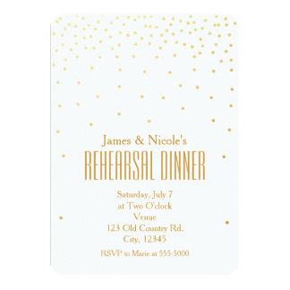 White & Gold Confetti Dots Rehearsal Dinner Card