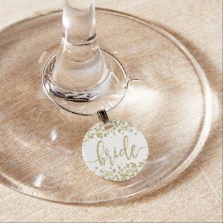 White & Gold Confetti Wedding Bride Wine Glass Charms