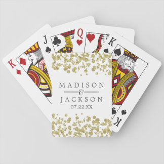 White & Gold Confetti Wedding Favor Playing Cards