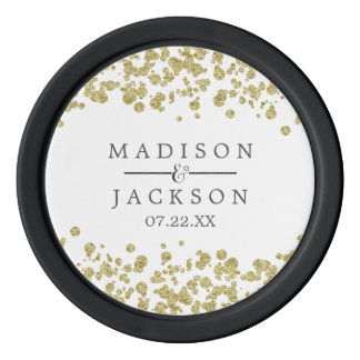 White & Gold Confetti Wedding Favor Poker Chips