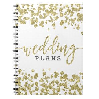 White & Gold Confetti Wedding Planner Spiral Notebook