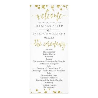 White & Gold Confetti Wedding Program