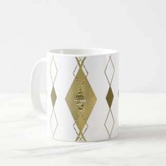 White & Gold Diamond Glamour Modern Classy Argyle Coffee Mug