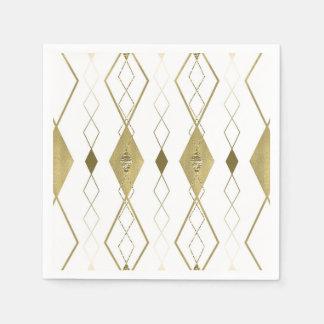 White & Gold Diamond Glamour Modern Party Chic Paper Napkin