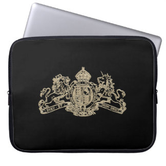 White Gold Dieu et Mon Droit British Coat of Arms Laptop Sleeve