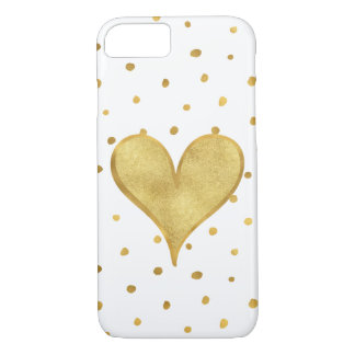 White Gold Dots Heart iPhone 8/7 Case