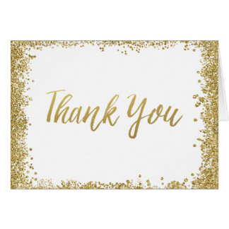 White Gold Faux Glitter Thank You Card
