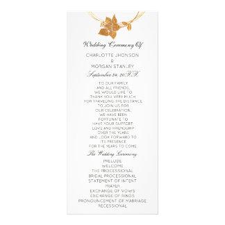 White Gold Floral Event Wedding Program Offical1 Rack Card