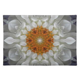 White Gold Flower Mandala Placemat