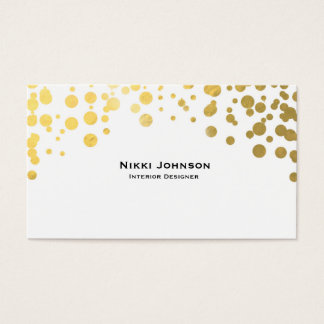 White Gold Foil Glam Confetti Dots Business Card