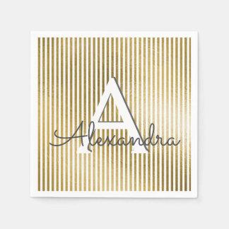 White & Gold Foil Striped Monogram Birthday Disposable Serviettes