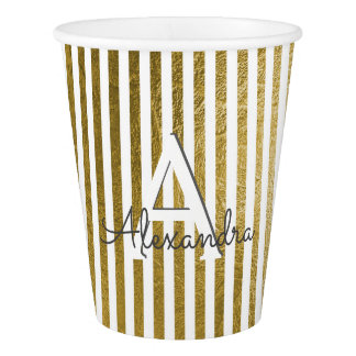 White & Gold Foil Striped Monogram Birthday Paper Cup