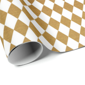 White Gold Geometry Chessboard Diamond Cut Wrapping Paper