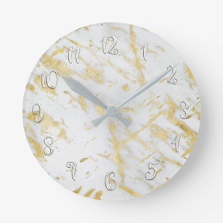 White & Gold Glam Marble Modern Personalized Round Clock
