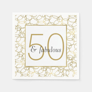 White Gold Glam Stylish Circles 50 and Fabulous Disposable Serviettes