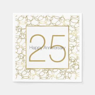 White Gold Glam Stylish Circles Anniversary Paper Serviettes
