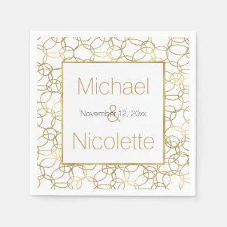 White Gold Glam Stylish Circles Wedding Disposable Napkin