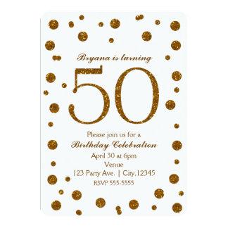 White & Gold Glitter Dots 50th 50 Birthday Party 13 Cm X 18 Cm Invitation Card