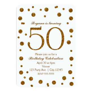 White & Gold Glitter Dots 50th 50 Birthday Party Card