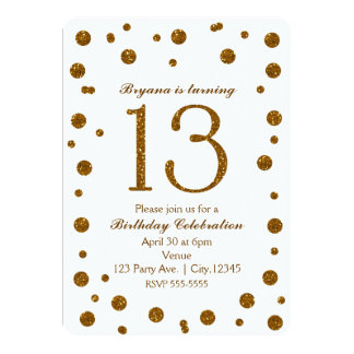 White & Gold Glitter Dots Sweet 13 Birthday Party Card