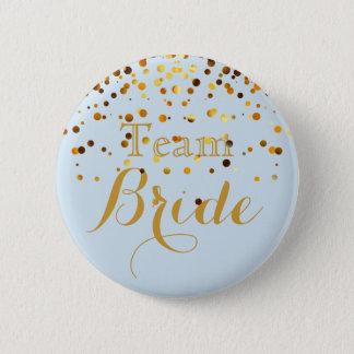 white Gold Glitter Faux Foil Wedding Team Bride 6 Cm Round Badge