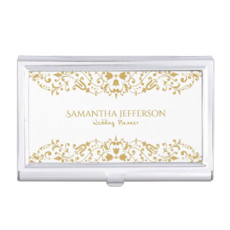 White & Gold Glitter Floral Swirl lace Business Card Holder