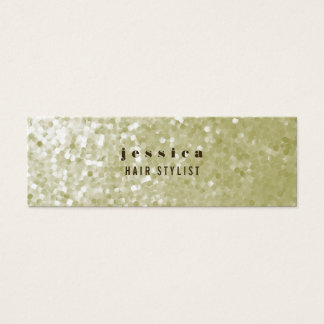 White Gold Glitter Sequin Hair Stylist Skinny Card