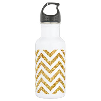 White Gold Glitter Zigzag Stripes Chevron Pattern 532 Ml Water Bottle