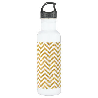 White Gold Glitter Zigzag Stripes Chevron Pattern 710 Ml Water Bottle