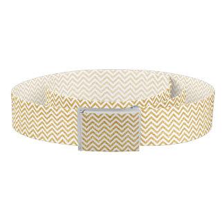 White Gold Glitter Zigzag Stripes Chevron Pattern Belt