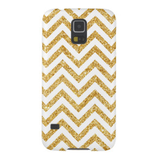 White Gold Glitter Zigzag Stripes Chevron Pattern Cases For Galaxy S5