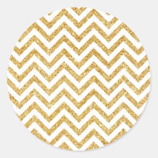 White Gold Glitter Zigzag Stripes Chevron Pattern Classic Round Sticker